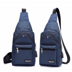 Korea Men Women Canvas Chest Bag Sports Bag Man Crossbody Shoulder Sling External Charging USB Port