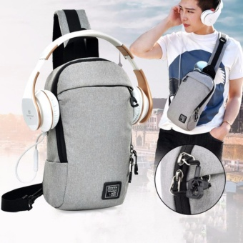 Korea Multi-fonction Waterproof Chest Burglarproof Zipper Design Package Sling Chest Bag Shoulder Backpack Crossbody Bag Daypack For School Cycling Hiking Camping Sport Travel(Grey) - intl