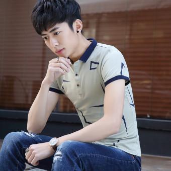 Korea Slim muda kemeja pria kerah lengan pendek t-shirt (Cahaya biru)