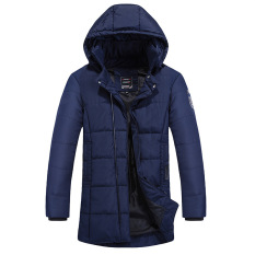 Korea Type Long Thickening Cotton-padded Jacket Coat Pure Color Large Size Male Men's Winter Coats Jackets - Intl
