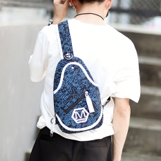 Korean Cool Bag Canvas Chest Bag Men's Handbag Men Crossbody Small Bag Bag Single Shoulder Bag Backpack Women Sports Leisure Bag -Dark Blue