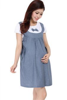 d1a8c1401961d Korean Fashion Pregnant Big Size Short Sleeve Cotton Maternity Dress  HMDRESS006 Blue