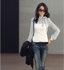 Korean Fashion Women Lady Slim T-Shirt Puff Long Sleeve Polo Neck Stripe Tops White