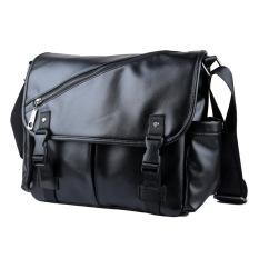 Korean Male Messenger Bag Shoulder Bag Bag PU Bag Bag, Casual Leather Satchel Wind (Black)