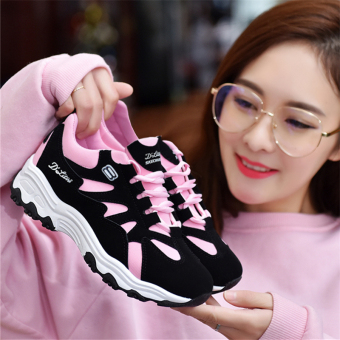 Korean-style female wild casual shoes New style sports shoes (Merah muda)