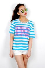 Korean Style Hot Striped Women T-shirt (Skyblue)