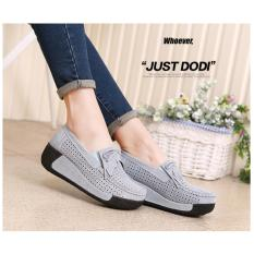 Korean version of the suede leather belt shaking shoes female thick bottom hollow up the bottom shoes casual shoes breathable slope with the mother shoes