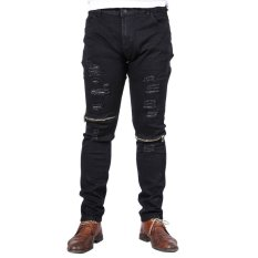 KUNPENG Fashion Men Straight Zipper Slim Jeans Trousers (Black)