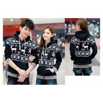 kyoko fashion jaket couple rusa-(hitam)