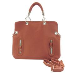 Ladies Luxury Pu Leather Handbag Chain Shoulder Bag Plaid Women Crossbody Bag-Brown - Intl