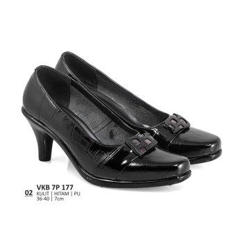 Lagenza Sepatu kerja wanita kasual formal kulit leather full black mid-high heels lze002
