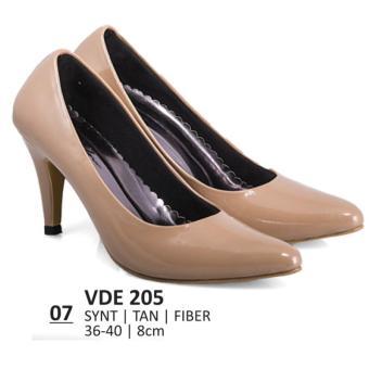 Lagenza Sepatu kerja wanita kasual formal synthetic leather tan mid-high heels lze007