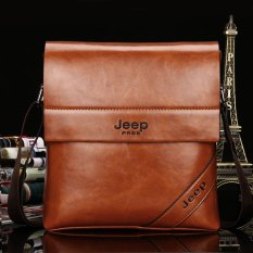 Men's Cowhide Leather Business Bag Men Tote Casual Vertical Inclined Shoulder Bag Small Bag Briefcase. (Khaki) - Intl