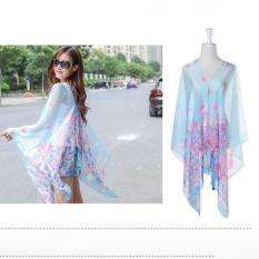 LALANG Chiffon Shawls Scarf Pearl Button Floral Print Sunscreen Scarf (Light Blue) - intl
