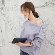 LOOESN Korean-style mid-length short sleeved female ... Source · LALANG Fashion Women Striped Blouse Oblique Collar Off Shoulder Shirt (Light Blue) - intl