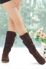 LALANG New Fashion Casual Flat Shoes Sweet Boot Stylish Mid-calf Boots Brown