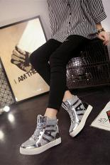 LALANG New Flat Shiny Lace Women Shoes Casual Increased Shoes Silver (Intl)