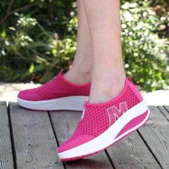 LALANG New Height Increasing Shoes Casual Women Swing BreathableWedges Shoes Hotpink