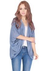 LALANG Women Batwing Sleeve Cardigan Jacket Casual Coat Tops Royal Blue