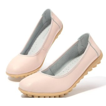 LALANG Women PU Leather Shoes Flats Boat Shoes Slip-on Fashion Loafers Pink