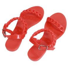 LALANG Women Summer Flat Sandals Toepost Shoes Beach Shoes (Orange) (Intl)