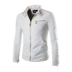 LANBAOSI Men's Vintage Motorcycle Faux Pu Leather Slim Fit Stand Collar Jacket White (Intl)