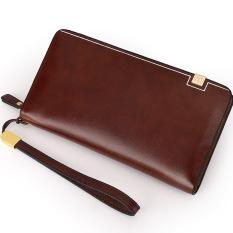 Large Capacity Genuine Cowhide Leather Wallet Men's Handbag Leisure Fashion Purse (Brown) - Intl