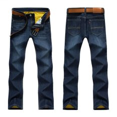 Large Size Men's Winter Polar Thick Warm Jeans New Men's Fashion Straight Slim Denim Pants Black Jeans Long Jeans (Deep Blue) - Intl