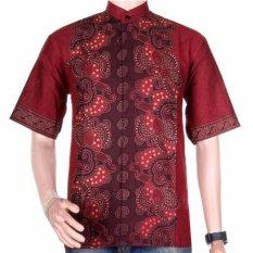 Lasido Baju Batik Koko Muslim Lengan Pendek ZO11 Modern Kemeja Fashion Pria Fashionable Shirt Clothes Man Katun Prima Nyaman Tidak Luntur Kerja Formal Casual Kondangan Cool Short Sleeve Tampil Gagah Kece K035 - Merah