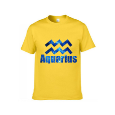 Latest Version 12 Constellations Short-sleeved T-shirt Pure Cotton Aquarius Yellow S - Intl