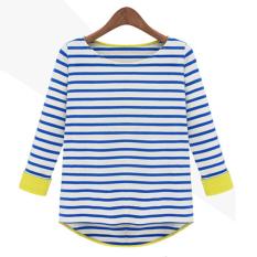 Laut bergaris Slim leher bulat Lengan bergaris t-shirt bottoming kemeja (1348 (biru bergaris))