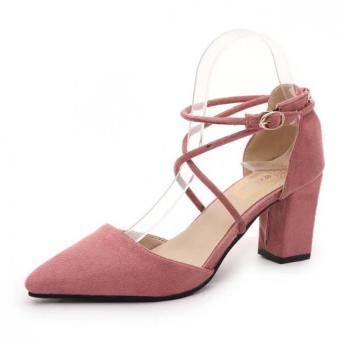 LBW Spring 2016 Europe New Cross Strappy Heels with Europe Thick Sweet Sexy Hollow Tip Single Shoes(pink) (Intl)