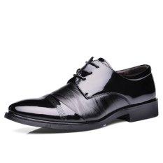 LCFU764 Men Formal Shoes Crocodile Lines Pointed Business Shoes-black - Intl