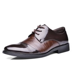 LCFU764 Men Formal Shoes Crocodile Lines Pointed Business Shoes-brown