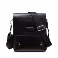 Leather Briefcase Casual Business Messenger Crossbody Handbag Black