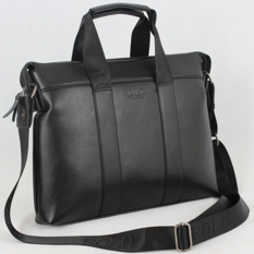 Leather Business Case Briefcase Portfolio Tote (Black)