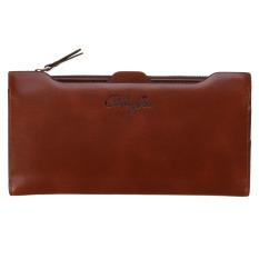 Leather Card Holder Zip Clutch Bag Long Handbag Wallet Dark Coffee