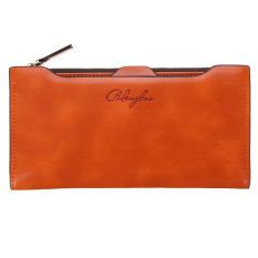 Leather Card Holder Zip Clutch Bag Long Handbag Wallet Orange