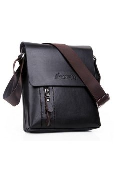 Leather Crossbody Messenger Bag (Black)