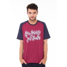 Lee Cooper Kaos Pria Regular Fit Maroon Dan Raglan Carrier