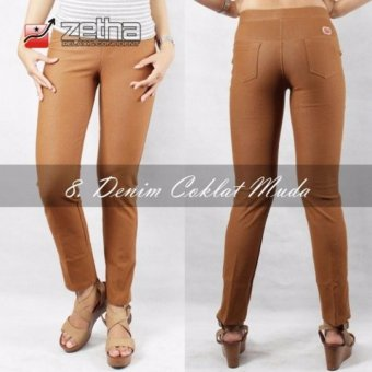 Legging Denim Standard Zetha - Coklat Muda