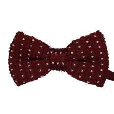 Leisure Men Simple Stylish Knitted Striped Bow Ties Neckwears Dark Red