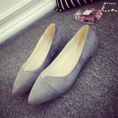 Leyi Contracted suede pointed shallow mouth flat shoes Grey - intl