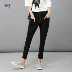 Likener Trend Casual Harem Celana Elastic Waist Ankle-length Celana (Black)