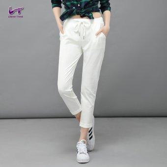 Likener Trend Santai Celana Harem Pergelangan Kaki Elastis Yang Tinggi - panjang celana (putih)