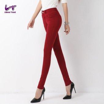Likener Trend Women Casual Pencil Celana (Bordeaux Red)