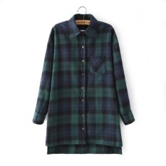 Limited Hole Plaid Women Tops Plus Size Autumn New Relaxed Leisure Thickened Lattice Lapel Women's Long Underwear Shirt (Intl)