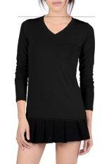 Linemart V-Neck Fitted Plain T-Shirt (Black) (Intl)