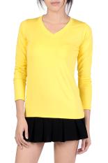 Linemart V-Neck Fitted Plain T-Shirt (Yellow) (Intl)