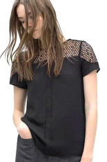 Linemart Women Causal O Neck Lace T-Shirt (Black) (Intl)